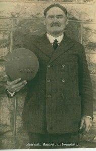 James Naismith with a basketball