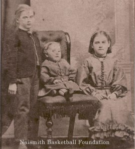 Early childhood photo of James Naismith and siblings