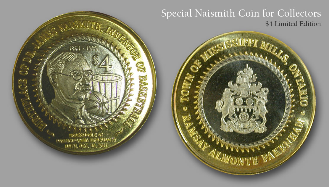 Naismith coin for sale from the Naismith Basketball Foundation