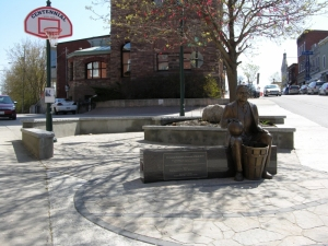 Statue of Dr. James Naismith in Centennial Square
